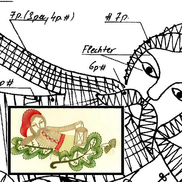 Klöppelbrief Zwerg mit Laterne