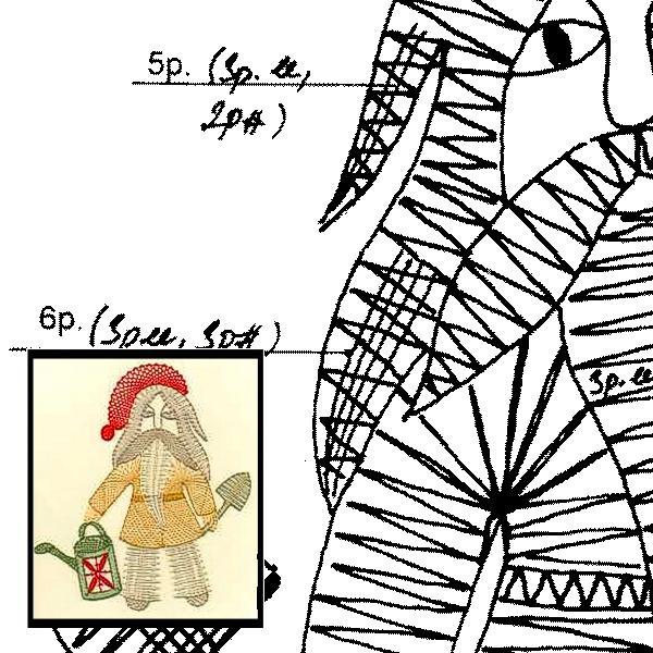 Klöppelbrief Zwerg mit Giesskanne