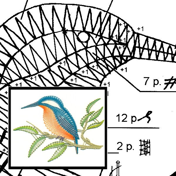 Klöppelbrief Eisvogel