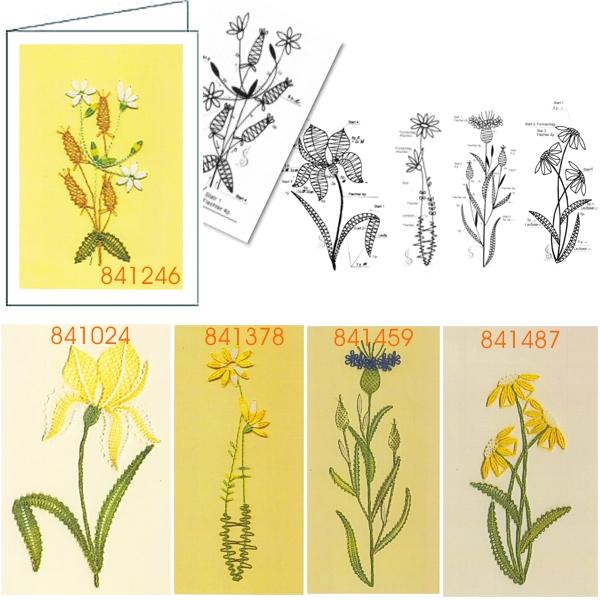 Klöppelbrief Blumen für Glückwunschkarten