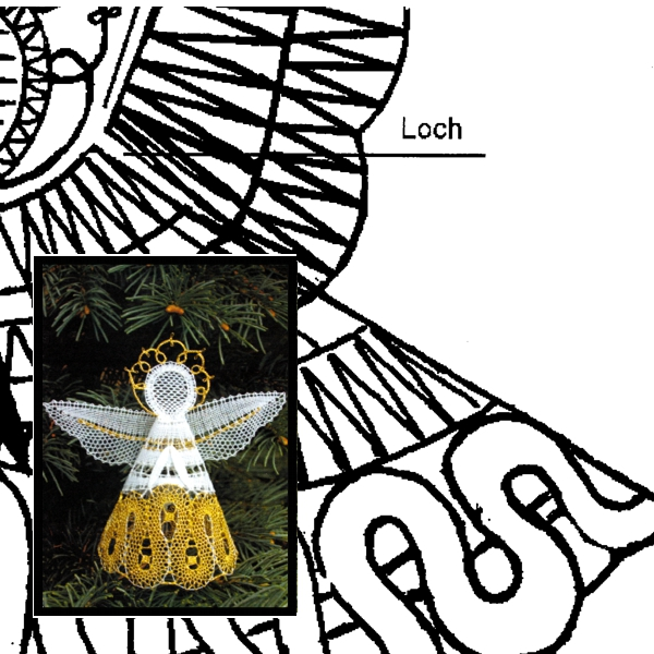 Klöppelbrief Engel, dreidimensional