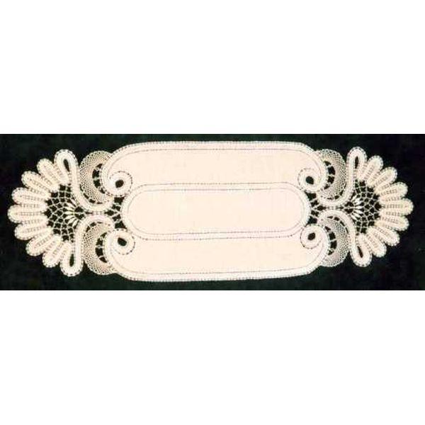 Klöppelbrief Decke oval 30 x 90 cm