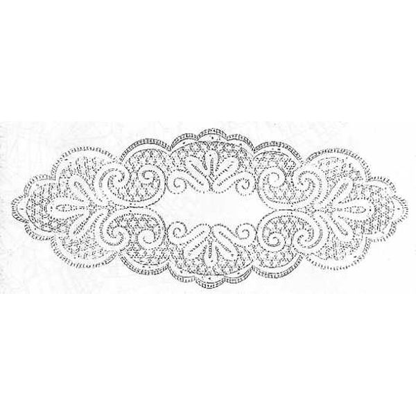 Klöppelbrief Decke oval 35 x 90 cm