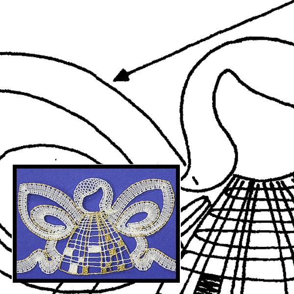 Klöppelbrief Glaskerzenhalter Engel