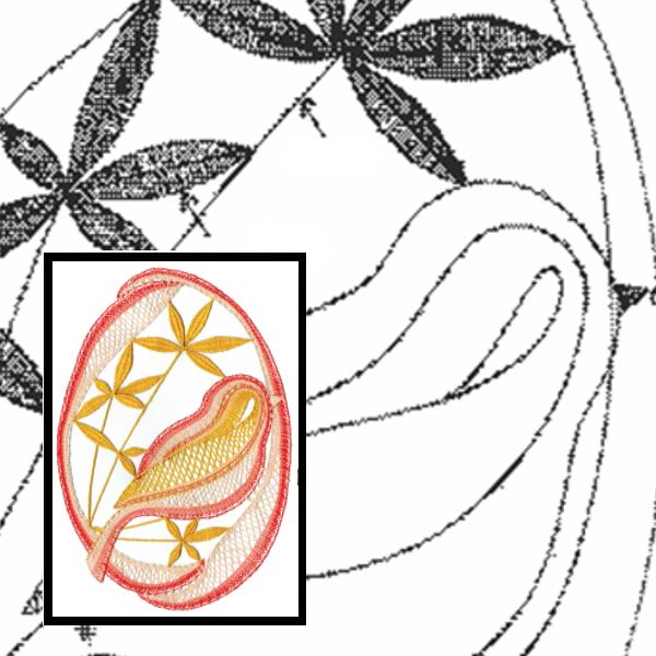 Klöppelbrief Vogel im Oval
