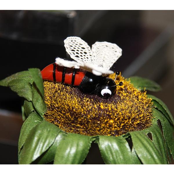 Klöppelbrief Biene plus Glaskörper dazu