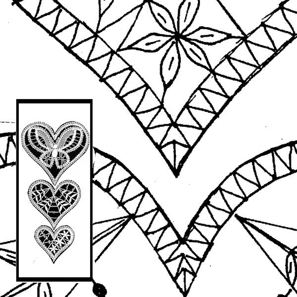 Klöppelbrief 3-er Herzen (Gr. 1, 2 & 3)