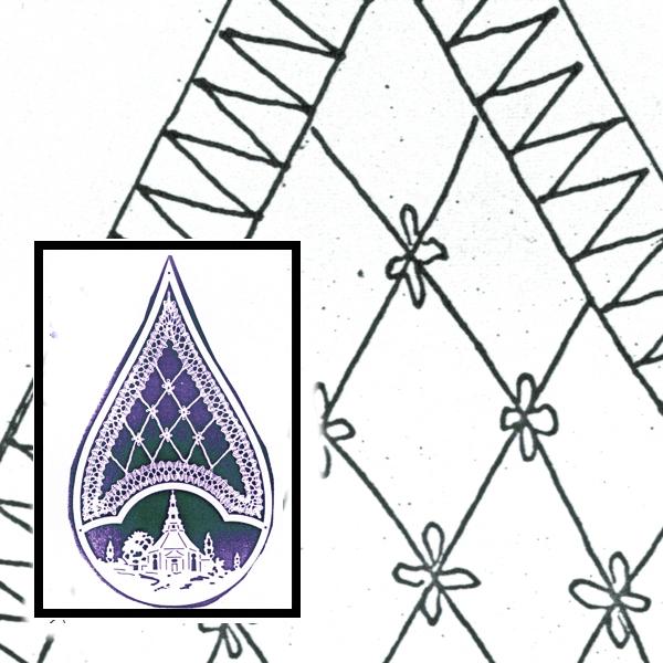 Klöppelbrief für Holztropfen mit Motiv