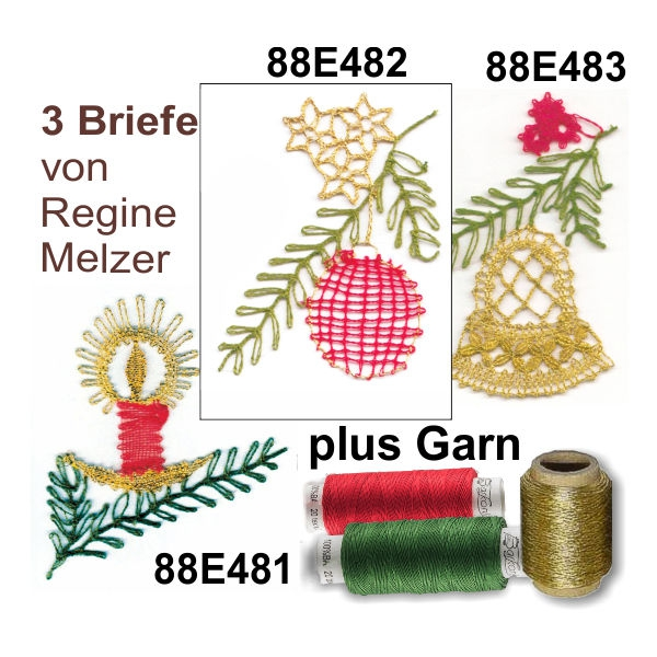 Klöppelbriefe 3er SET + Garn