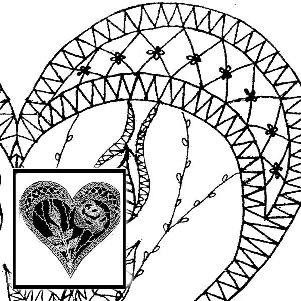 Klöppelbrief Rose im Herz (Gr. 4)