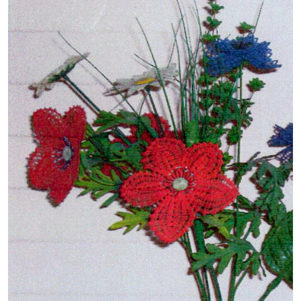 Klöppelbrief - Geklöppelte Blumen - Mohnblume