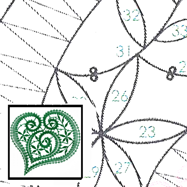 Pattern Heart Evergreen