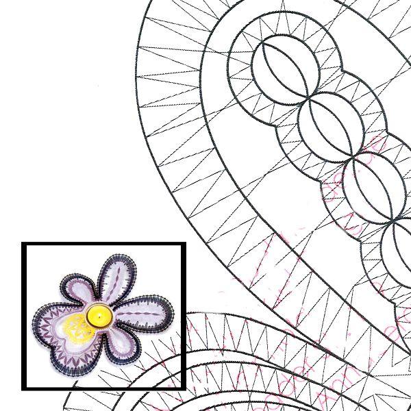 """Klöppelbrief Blüte """"Viola"""" für Teelichthalter"""