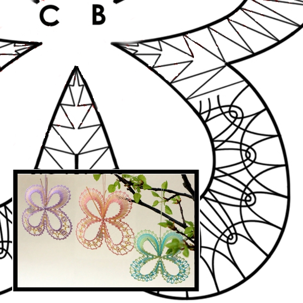 Klöppelbriefe Kleines Schmetterlings-Trio