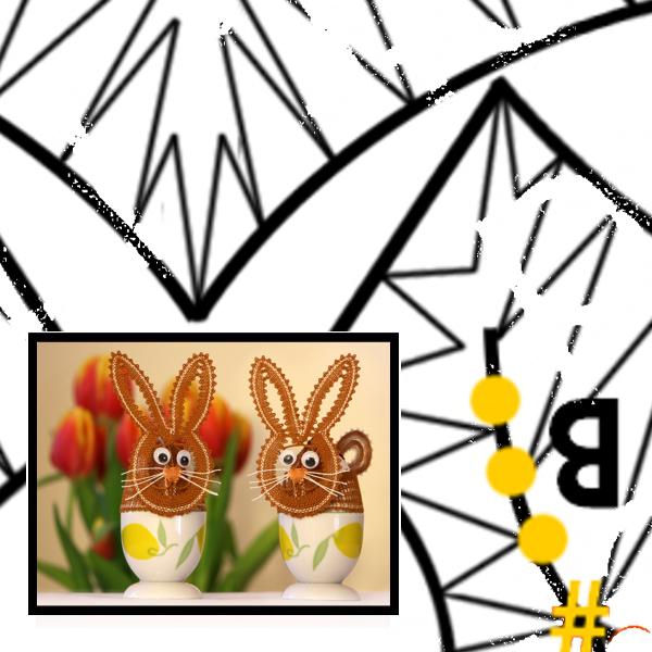 """Klöppelbrief """"Hasen-Hut für Eier"""""""
