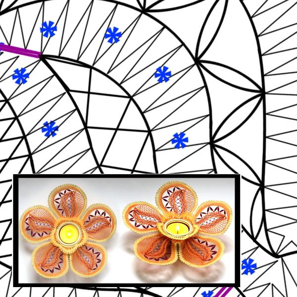 Klöppelbrief Hibiscus für Teelichthalter