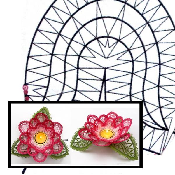 Klöppelbrief Rosenblüte für Teelichthalter
