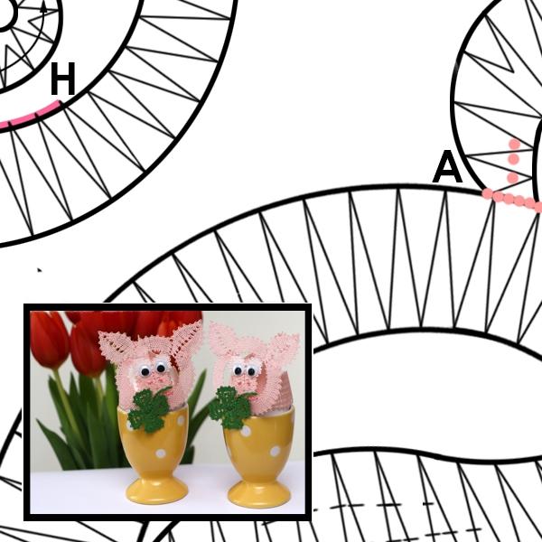 Klöppelbrief Hütchen Schweinchen für Eier