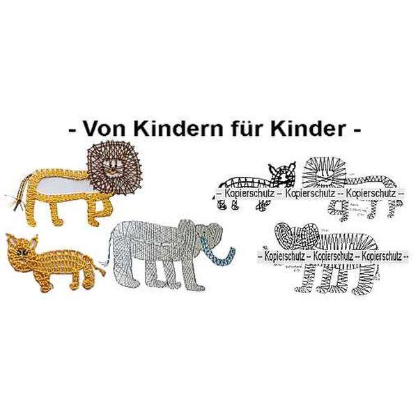 Klöppelbrief 2 Löwen & Elefant
