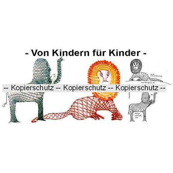Klöppelbrief Löwe & Elefant