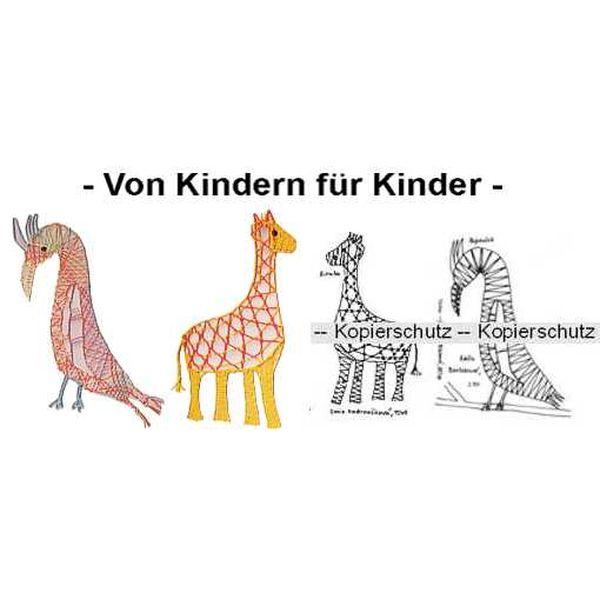 Klöppelbrief Papagei & Giraffe