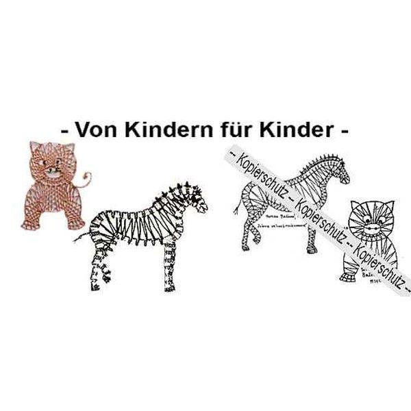 Klöppelbrief Schwein & Zebra