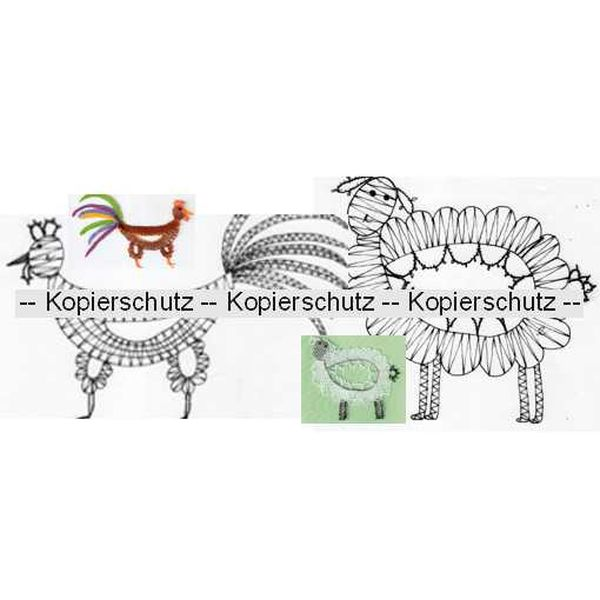 Klöppelbrief Schaf & Hahn