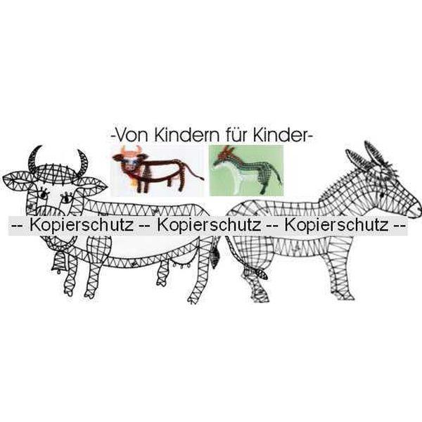 Klöppelbrief Kuh & Esel
