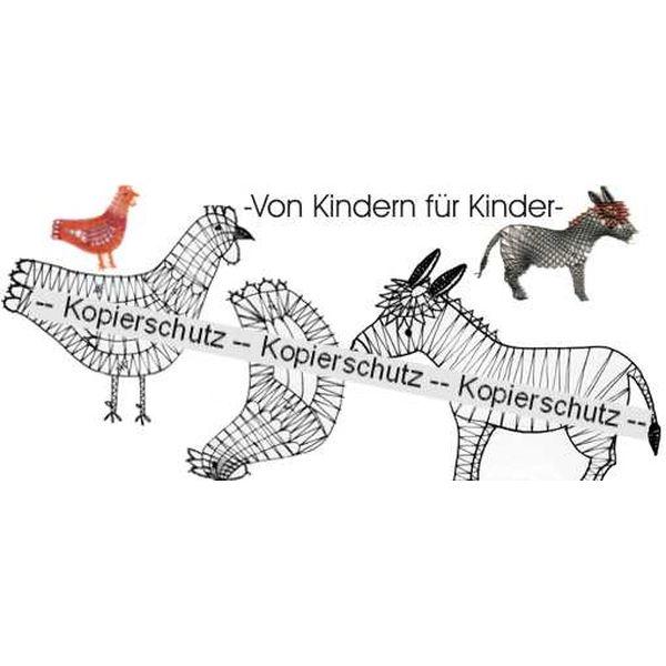 Klöppelbrief 2 Hühner & Esel