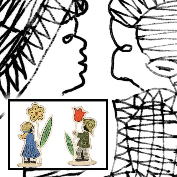 Klöppelbrief Blumenkinder