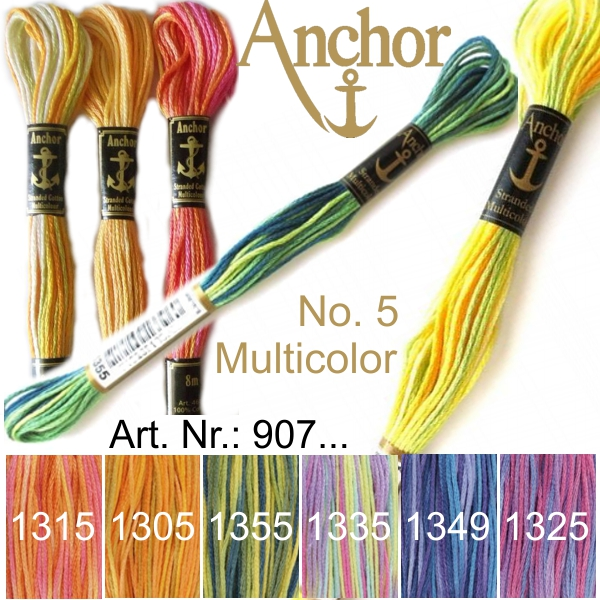 ANCHOR Pearl Cotton No. 5 - Multicolor