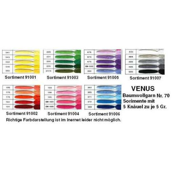Venus Crochet Cotton Yarn - 5-part Color Assortments