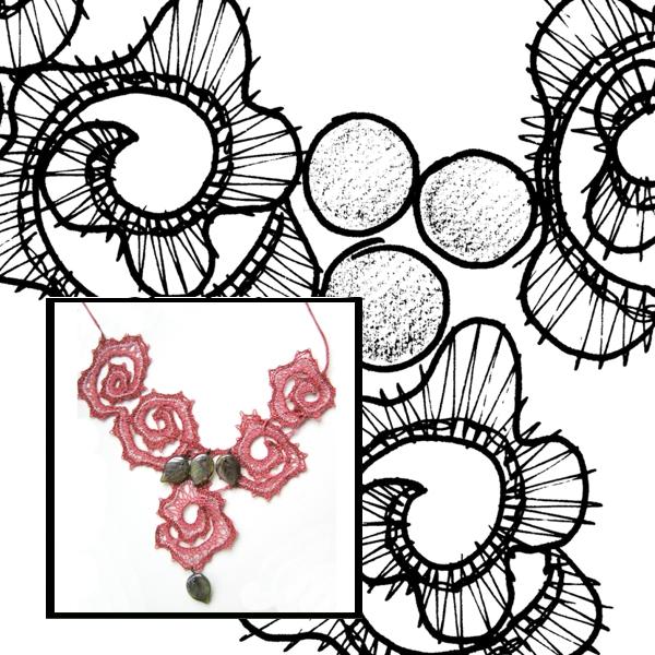 Klöppelbrief Halsschmuck Rose