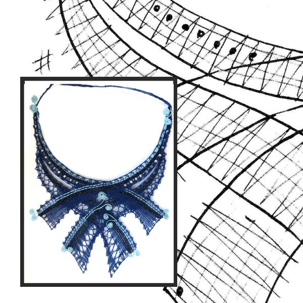Klöppelbrief Halsschmuck Blau
