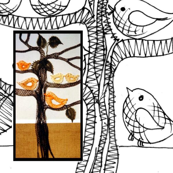 Klöppelbrief Vogelbaum