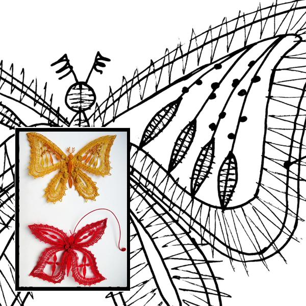 Klöppelbrief Schmetterlinge 4
