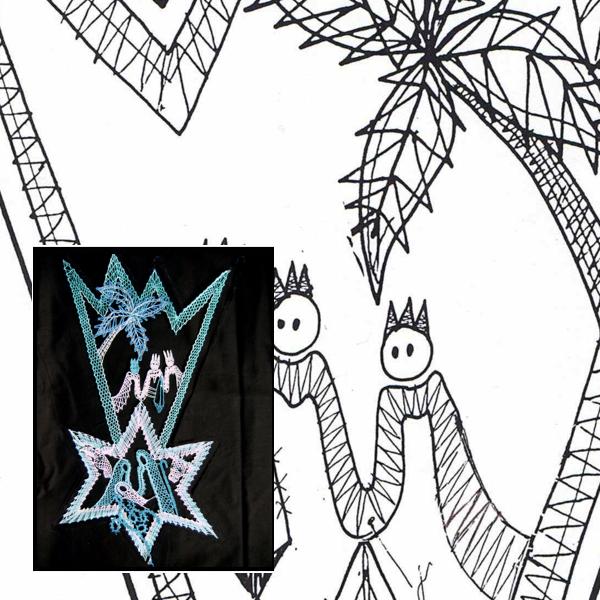 Klöppelbrief Krippe mit Stern