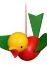 Holzminiaturen zum Hängen - Frühling Vogel bunt