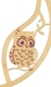 Wooden ring with motive Owl